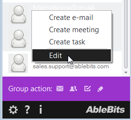 Choose to edit the selected contacts
