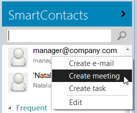 Choose to schedule a meeting with the selected contacts