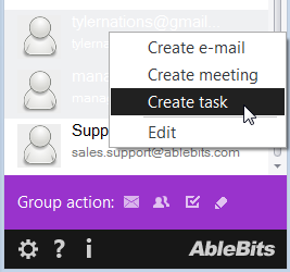 Choose to assign a task to the selected contacts