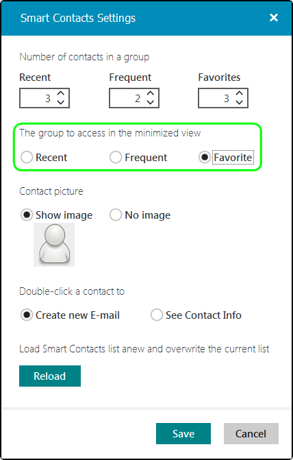 Define the number of contacts to see in each contact group