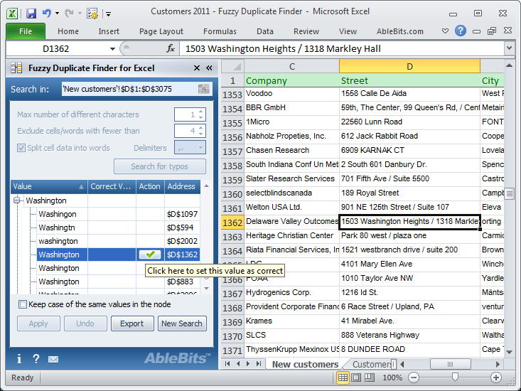 Click to view Fuzzy Duplicate Finder for Excel 3.5.3 screenshot