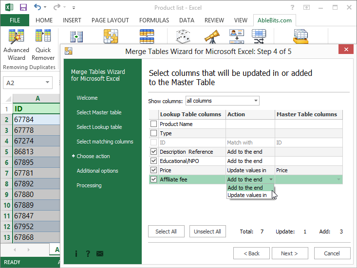 Merge Tables Wizard for Microsoft Excel Screen shot