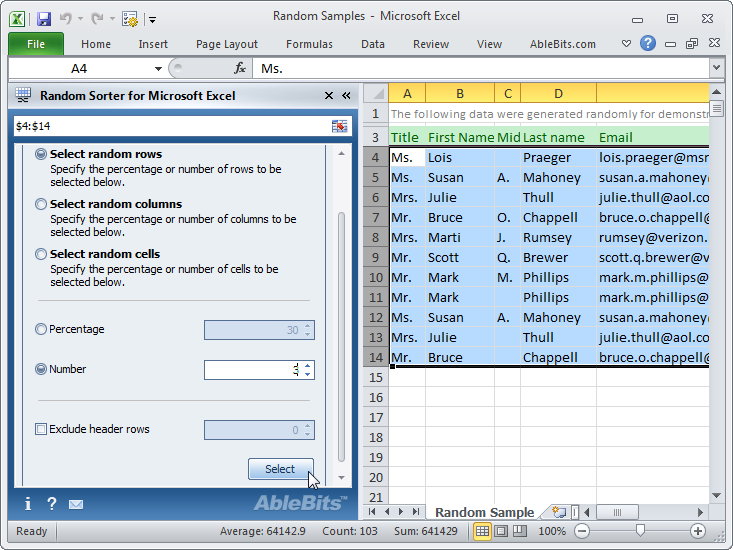 Click to view Random Sorter for Microsoft Excel screenshots