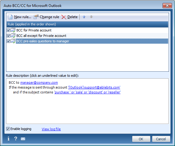 Create CC /BCC in Outlook automatically.