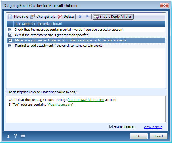 Outgoing Email Checker for Outlook full screenshot