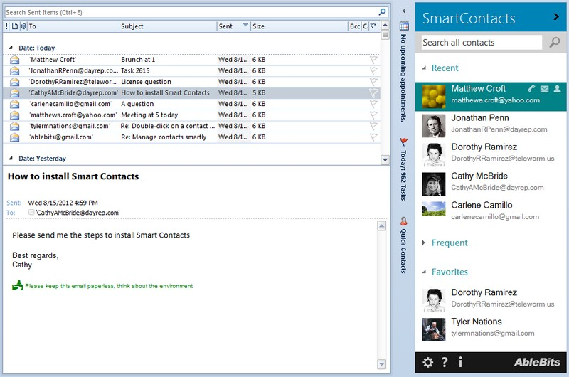 Simple Outlook contact manager in a pane
