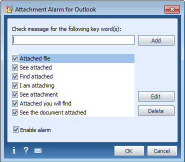 Attachment Alarm for Microsoft Outlook Screen shot