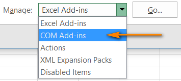 COM Add-ins in Microsoft Excel 2016