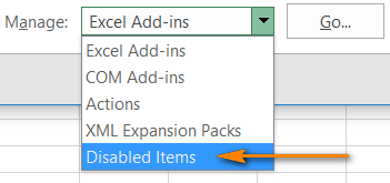 Disabled Items in Excel 2016