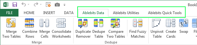 Ablebits.com Ultimate Suite on Microsoft Excel 2013 Ribbon