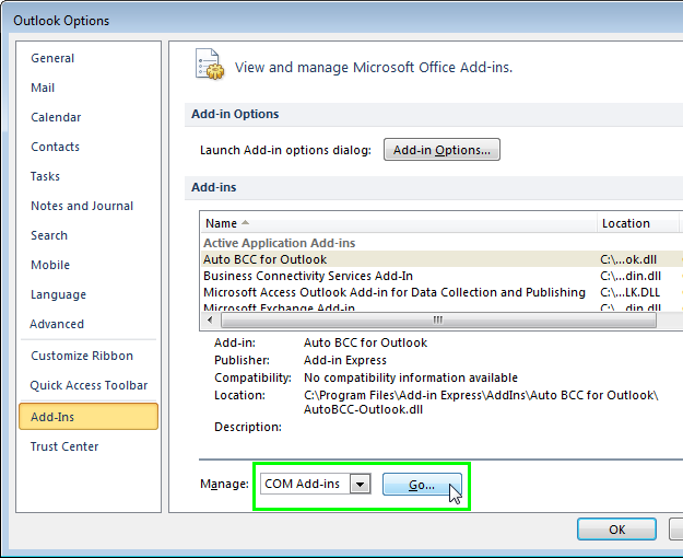 COM Add-ins in Microsoft Outlook 2010