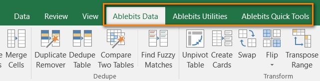 Ablebits.com Ultimate Suite on Microsoft Excel 2016 Ribbon