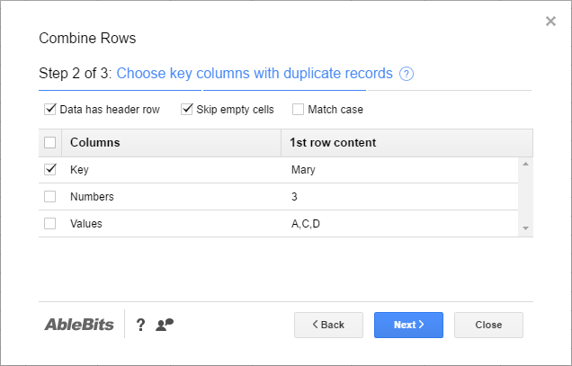 Merge duplicates in your spreadsheet to one row
