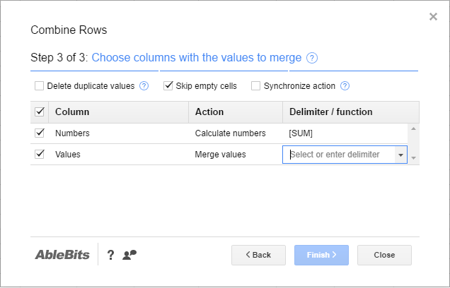 Merge uniques and add subtotals in Google Sheets